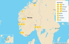Map thumbnail of Norway Fjords Summer Tour - 14 Days