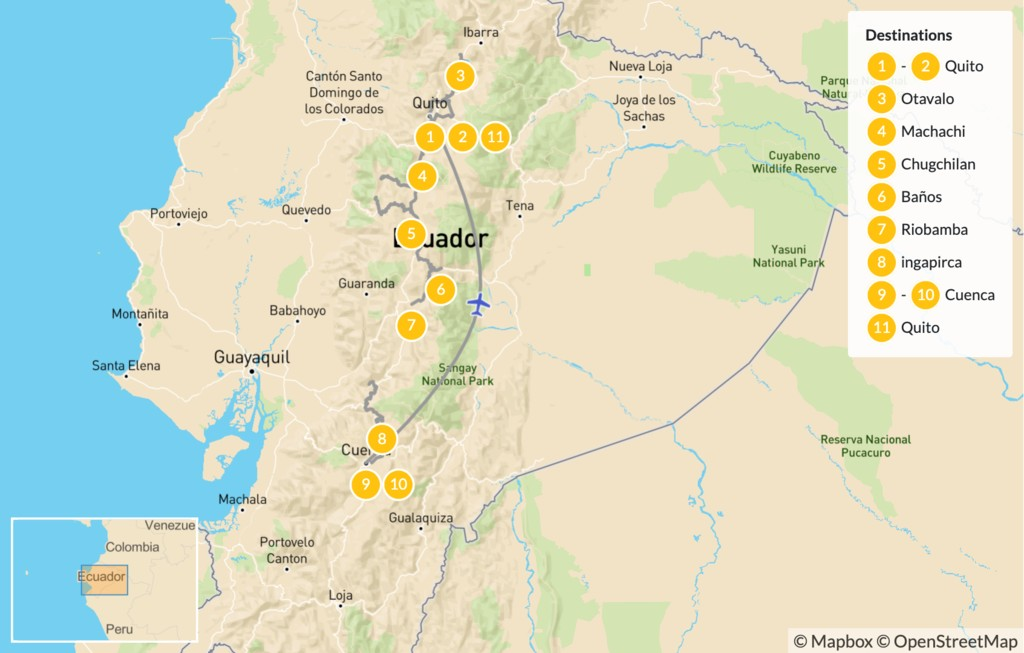 Map of Ecuador Cities & Volcanoes: Quito to Cotopaxi - 12 Days