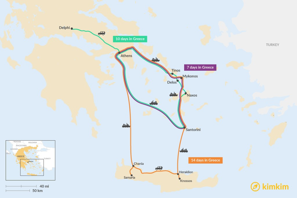 Map of Ultimate Greece Itineraries: 7 to 14 Days