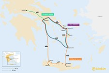 Map thumbnail of Ultimate Greece Itineraries from 7 to 14 days