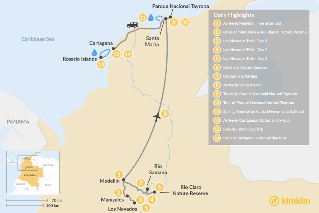 Map of Colombia Summit to the Sea Adventure - 14 Days