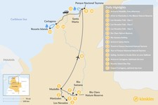 Map thumbnail of Colombia Summit to the Sea Adventure - 14 Days