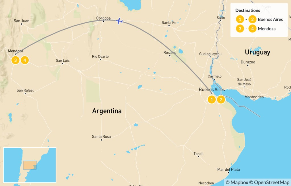 Map of Argentina's Wine Country - 5 Days