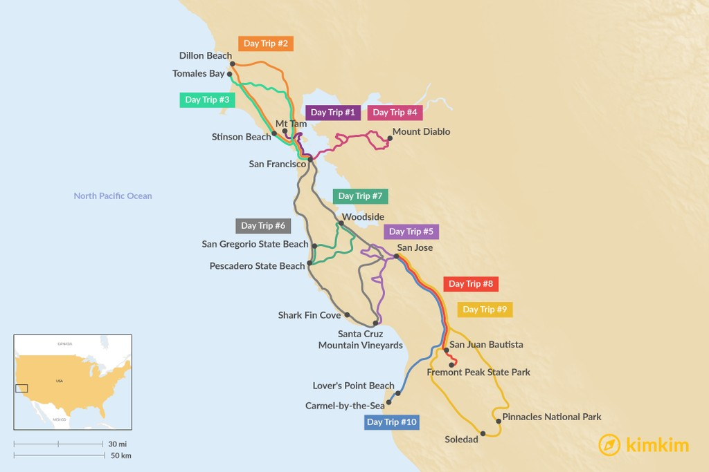 Map of Top Day Trips in the Bay Area - Explore the Best Backroads, Beaches and Towns