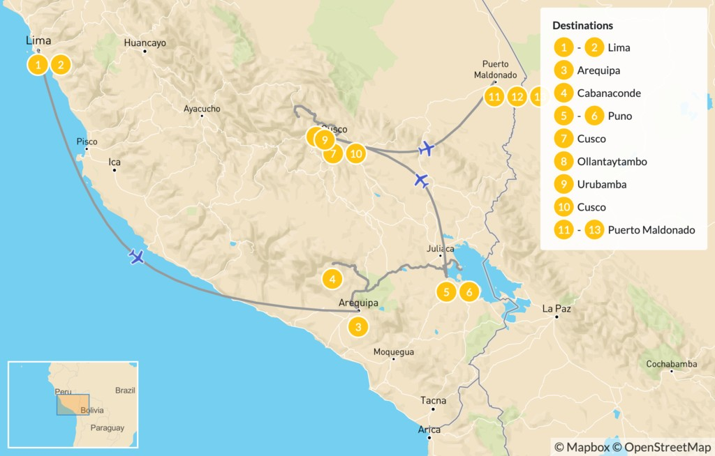 Map of Best of Peru - 14 Days