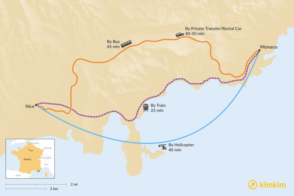 Map of How to Get from Nice to Monaco