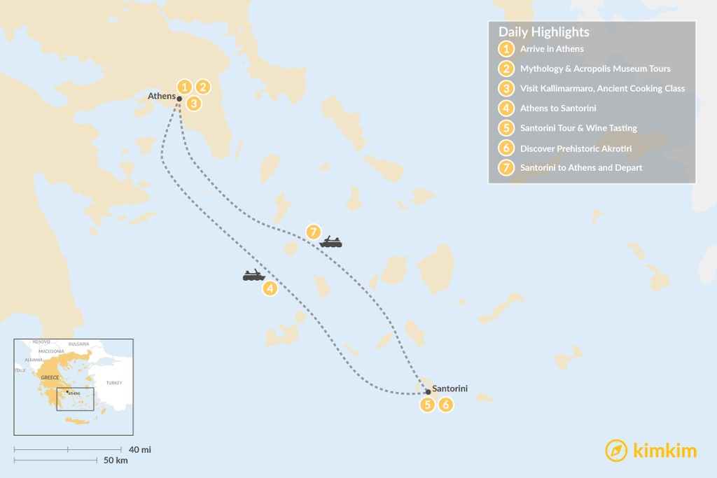 Map of History and Culture in Athens and Santorini - 7 Days