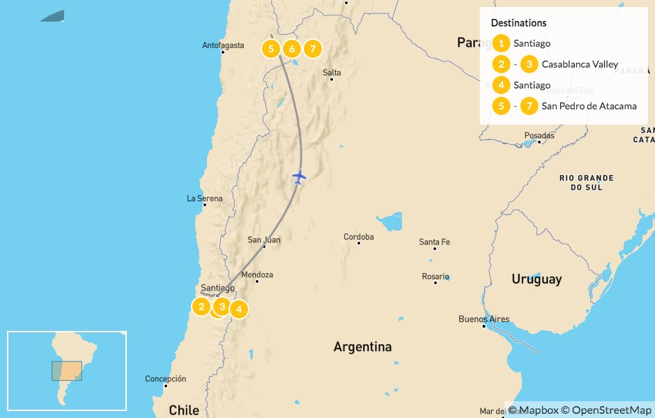 Map of Active Chilean Honeymoon: Casablanca & Atacama - 8 Days
