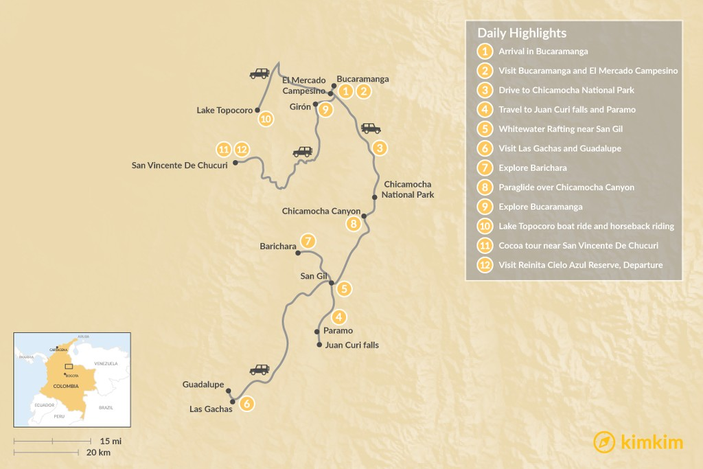 Map of Multi-Activity Adventure in Colombia's Santander - 12 Days