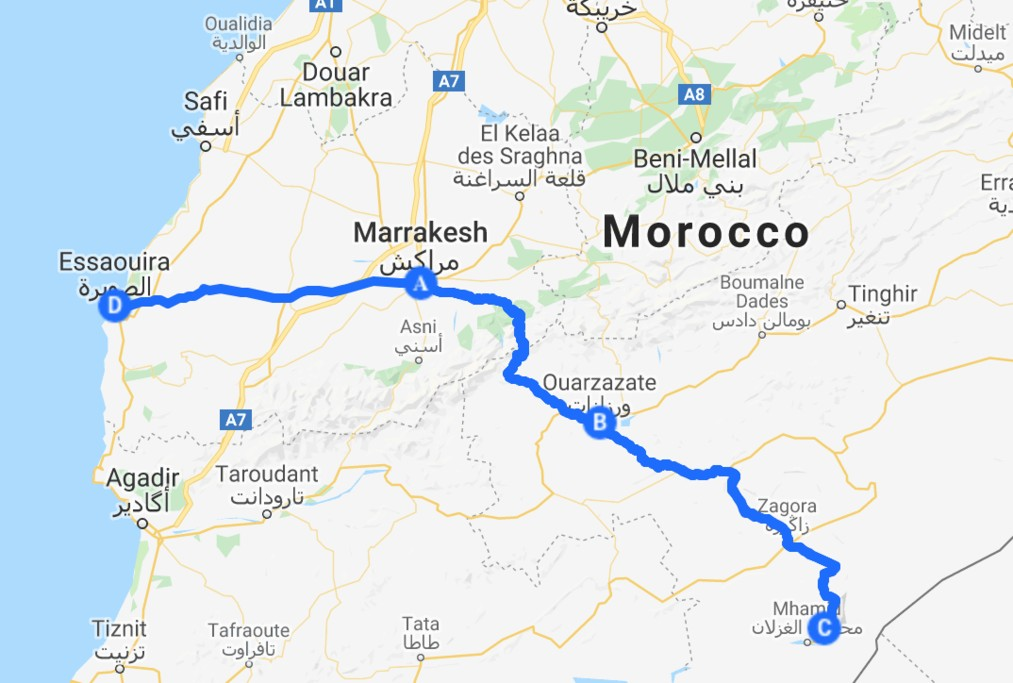 Map of Southern Morocco Luxury Tour - 8 Days
