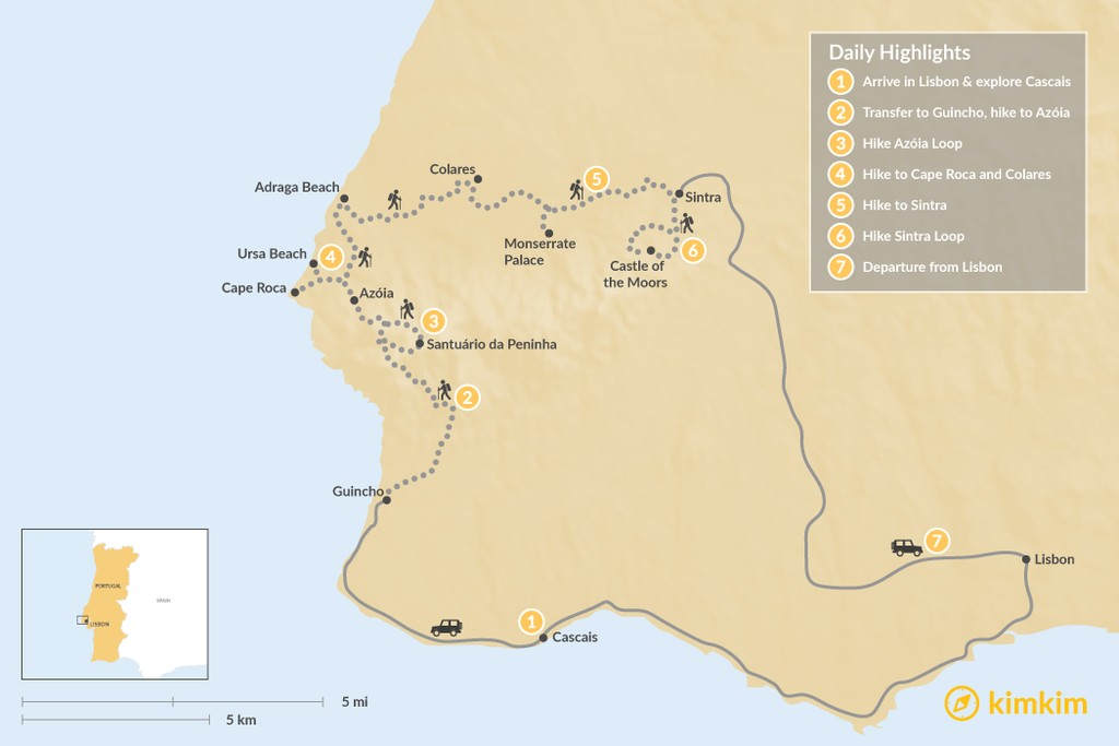 Map of Portugal: Sintra Heritage & Coastal Trails Hike - 7 Days
