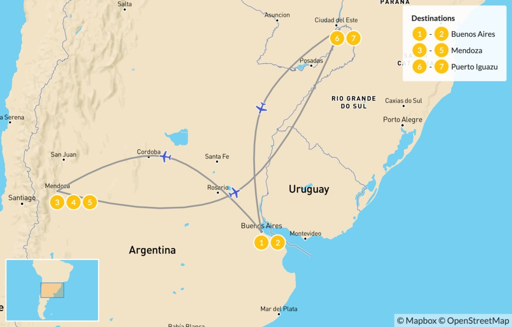 Map of Buenos Aires, Mendoza, & Iguazú - 8 Days