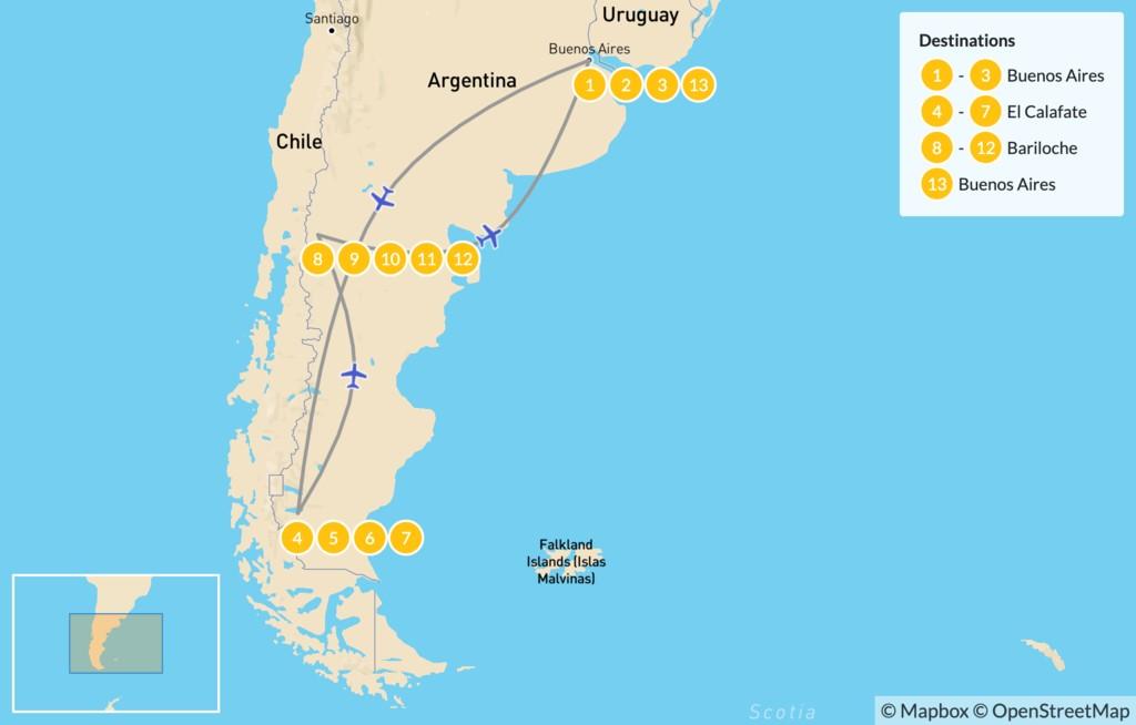 Map of Buenos Aires, El Calafate, & Bariloche - 14 Days