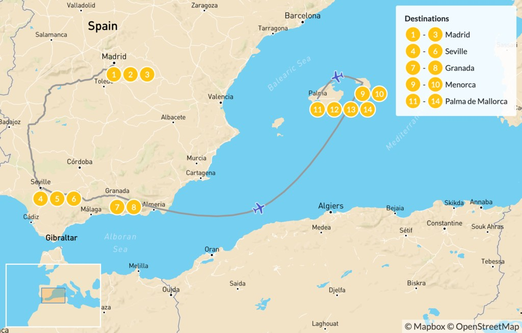 Map of Spain Highlights: Madrid, Seville, Granada, & The Balearic Islands - 15 Days