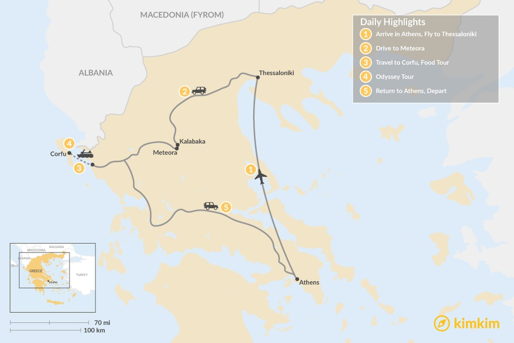 Map of Enchanting Northern Greece and Corfu - 5 Days