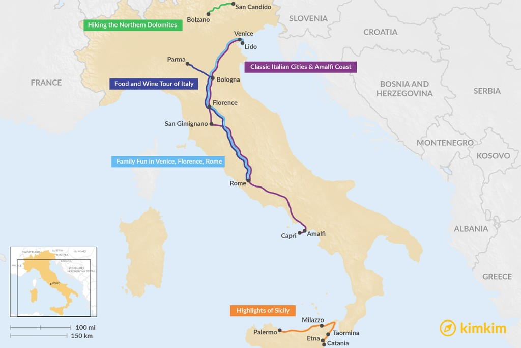 Map of 10 Days in Italy - 5 Unique Itinerary Ideas