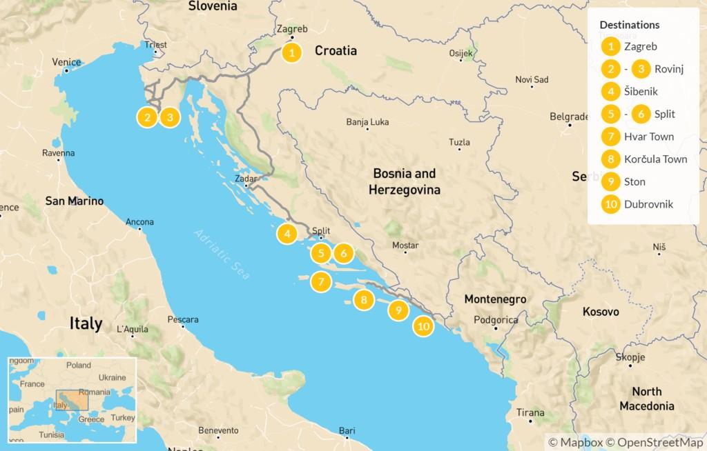 Map of Best of Croatia: Zagreb, Rovinj, Šibenik, Hvar, & Dubrovnik - 11 Days