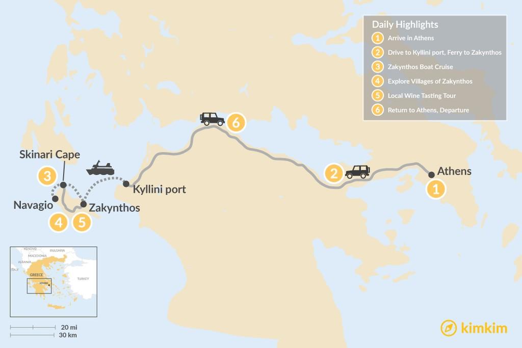 Map of Explore Zakynthos Island - 6 Days