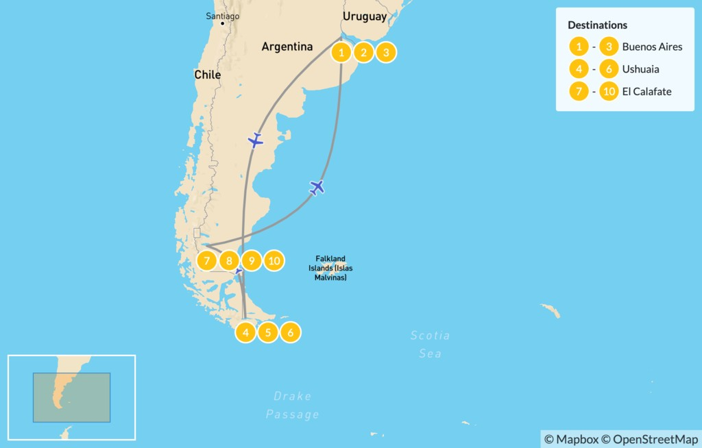 Map of Ushuaia & El Calafate Adventure - 11 Days