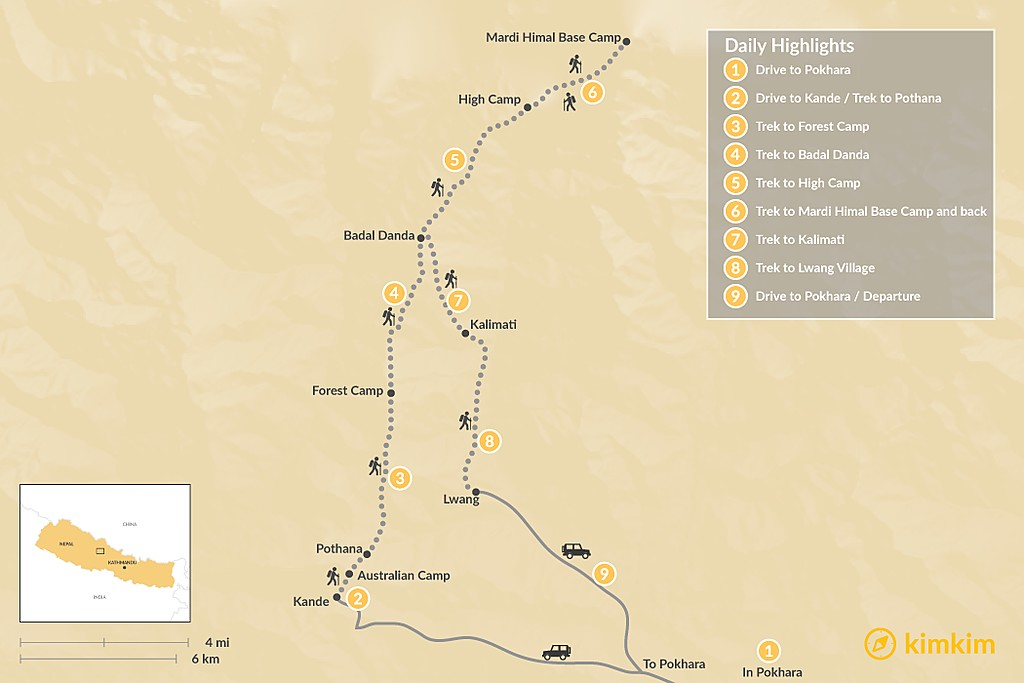 Map of Mardi Himal Trek  - 12 Days