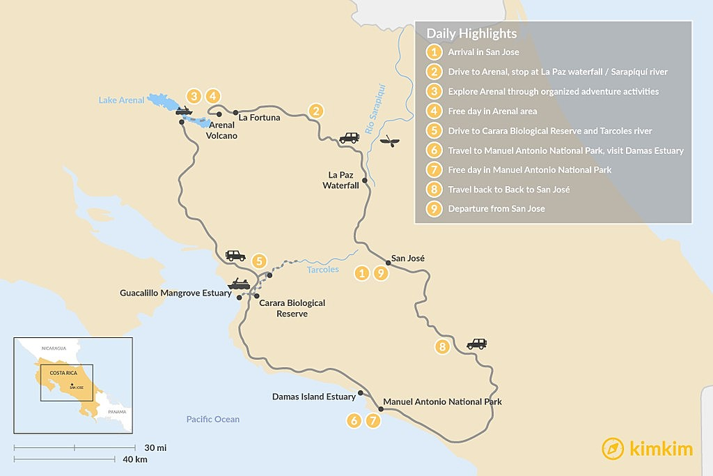 Map of Family-Friendly Arenal and Manuel Antonio National Park- 9 Days