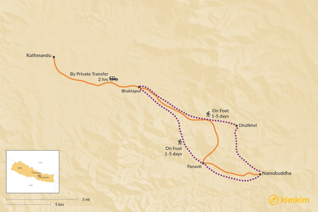 Map of How to Get from Kathmandu to Namobuddha