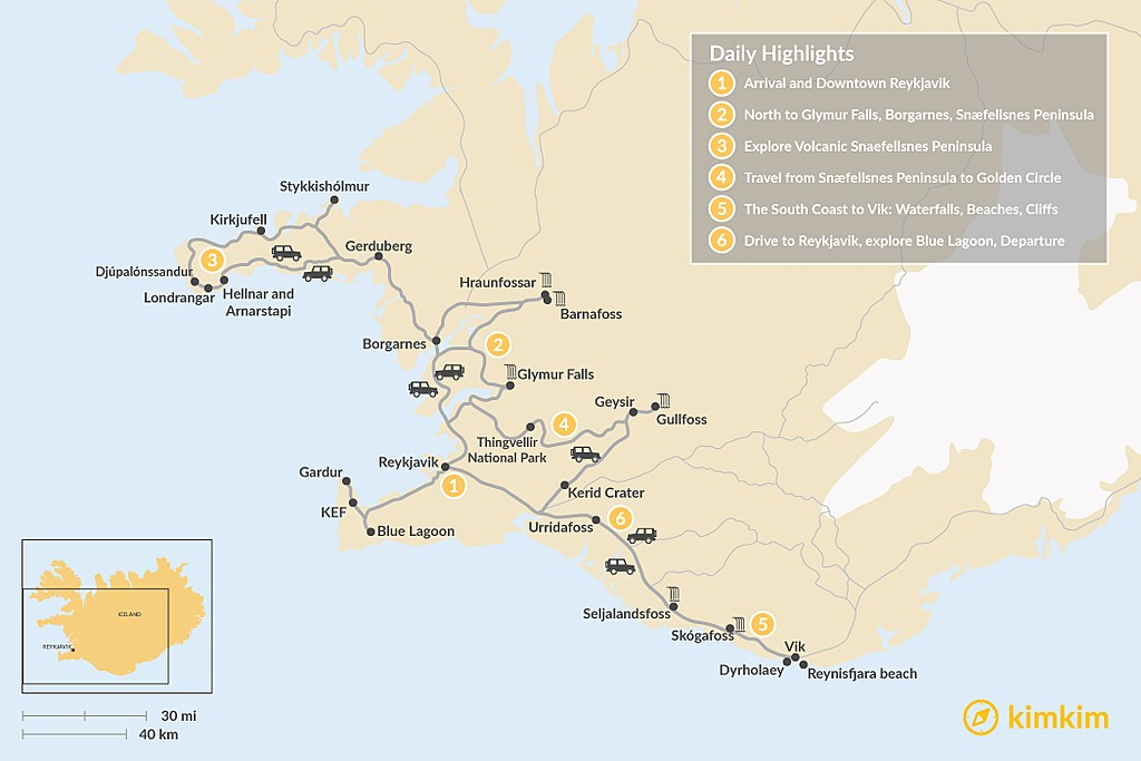 Map of Iceland West & South Coast Highlights - 6 Days