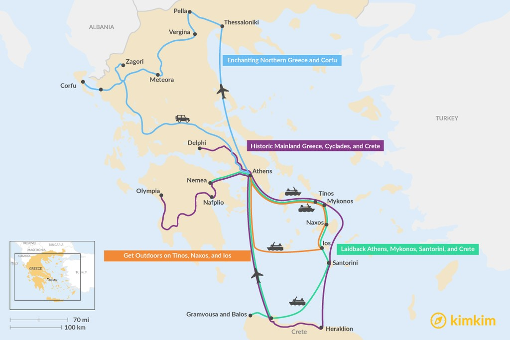 Map of 2 Weeks in Greece - 4 Unique Itinerary Ideas