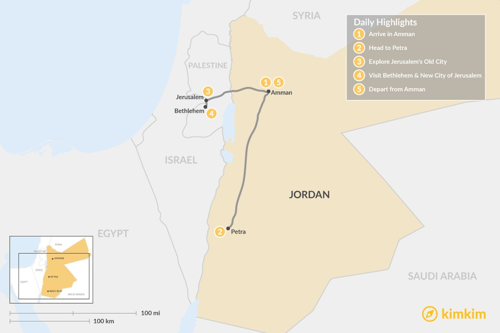 Map of Explore Jordan, Israel, and the West Bank - 5 Days