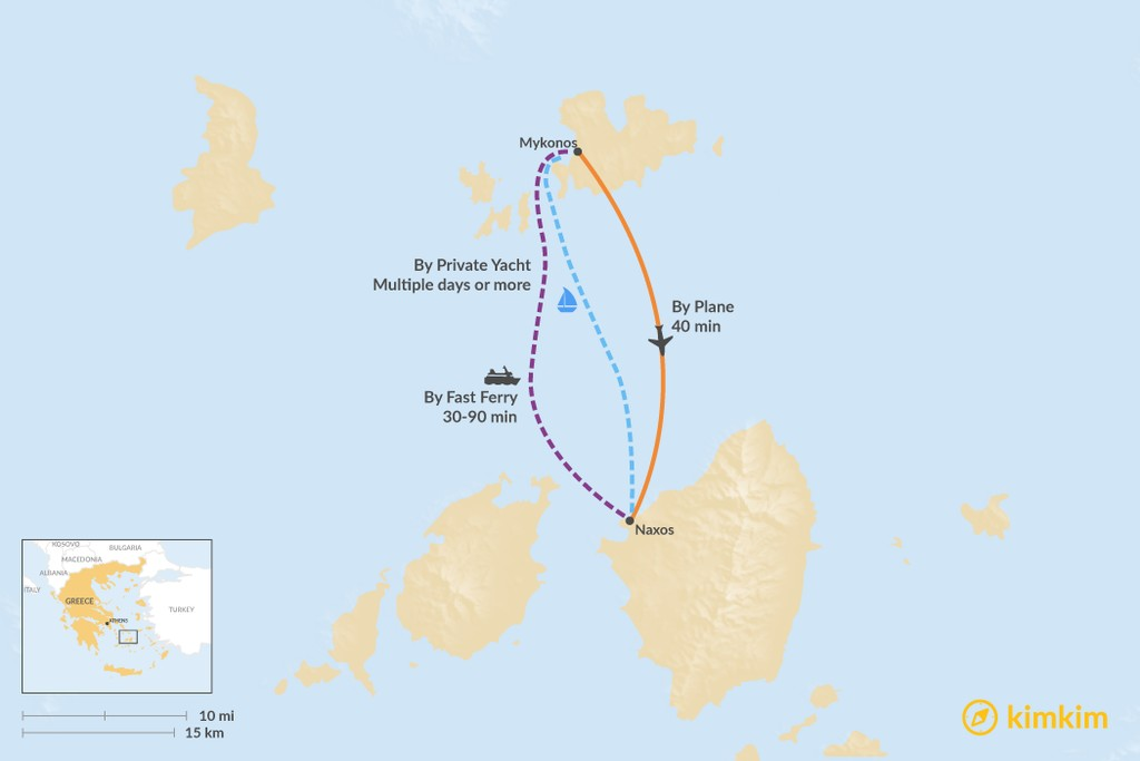 Map of How to Get from Mykonos to Naxos