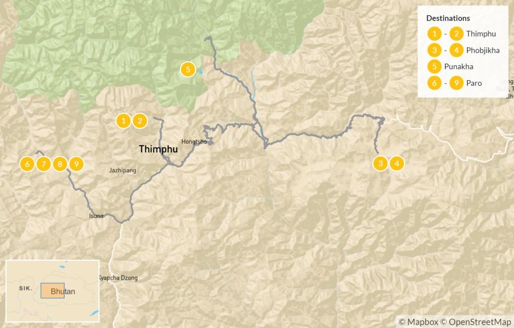 Map of Bhutan Trails, Wildlife, & Culture - 10 Days