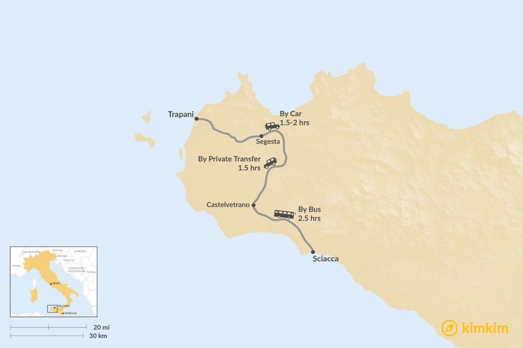 Map of How to Get from Trapani to Sciacca