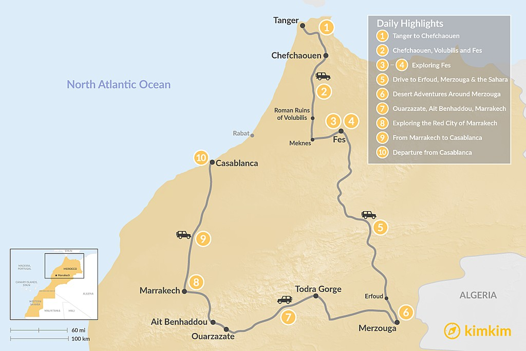 Map of Morocco Grand Tour: Tangier to Casablanca via the Desert - 10 Days