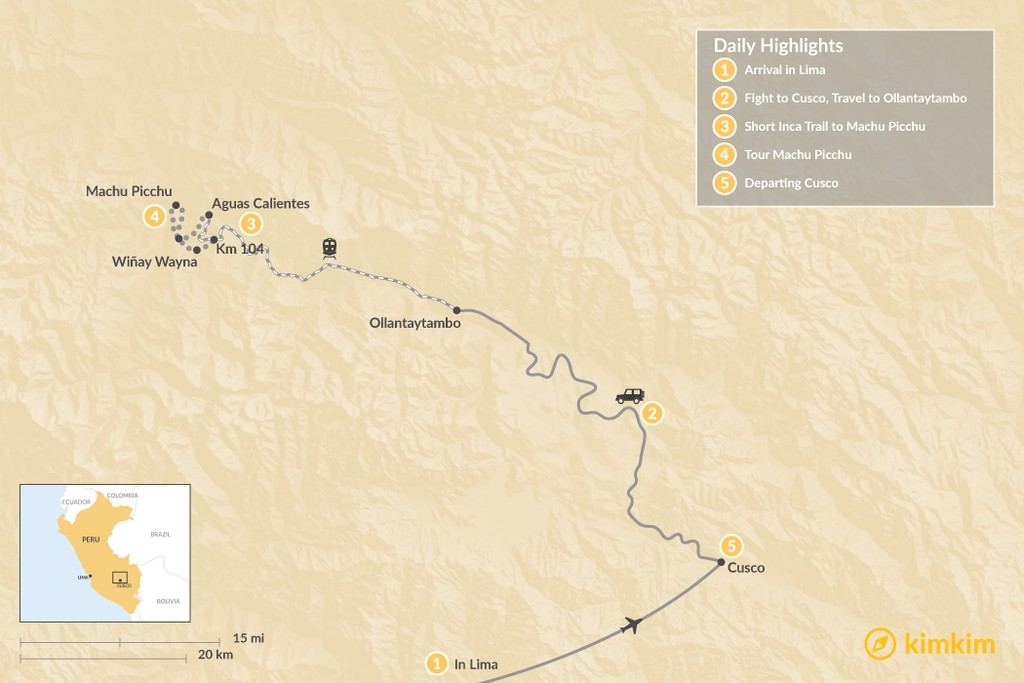 Map of Machu Picchu & Short Inca Trail - 5 Days