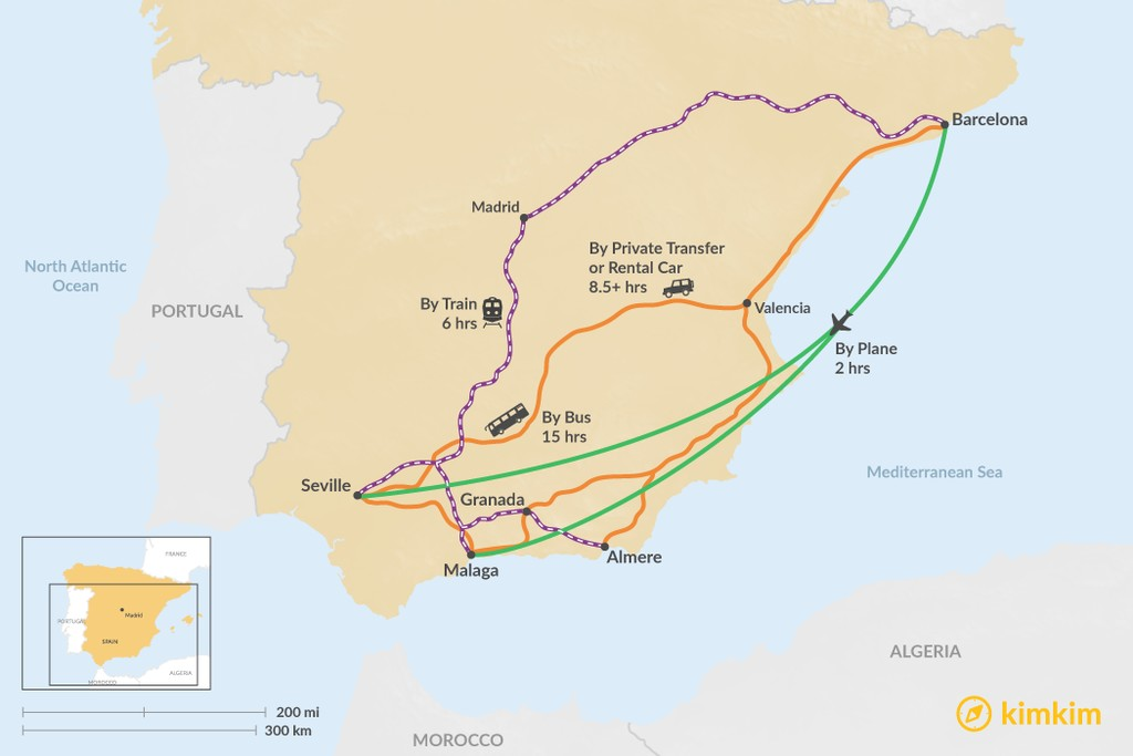 Map of How to Get from Barcelona to Andalusia