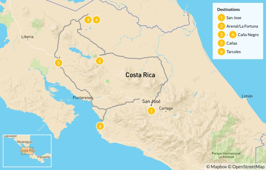 Map of Costa Rica Exotic Birds and Natural Highlights - 7 Days