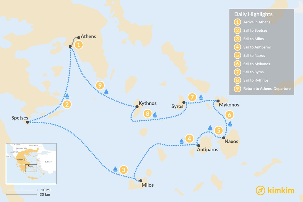 Map of Luxury Cyclades Yacht Cruise - 9 Days