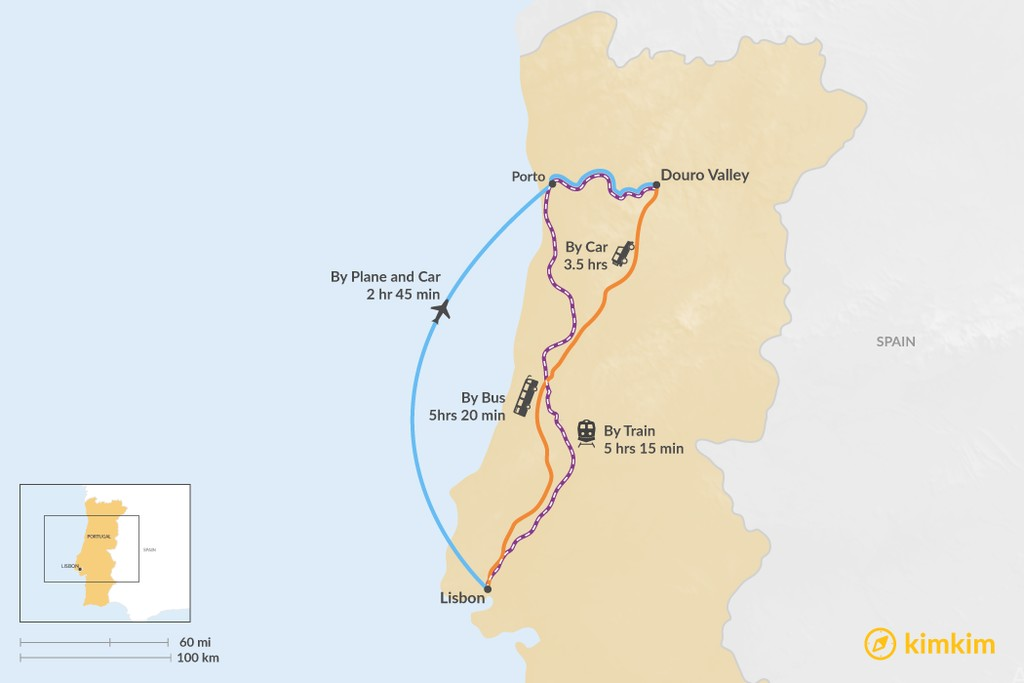Map of How to Get from Lisbon to Douro Valley