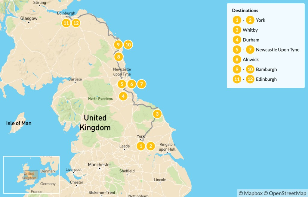 Map of Highlights of Britain's East Coast - 12 Days