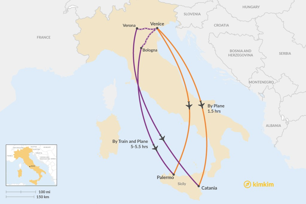 Map of How to Get from Venice to Sicily