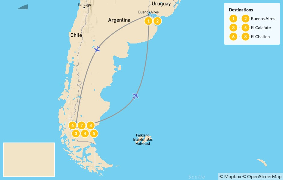 Map of El Calafate & El Chalten Grand Tour - 9 Days