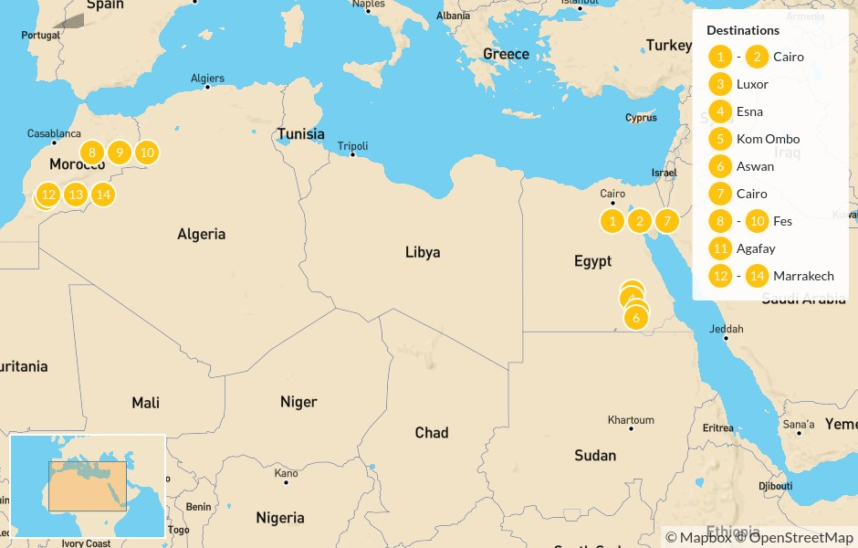 Map of Egypt & Morocco Highlights: Cairo, Nile River, Fes, Marrakech, & More - 15 Days