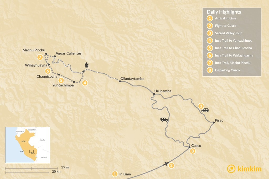 Map of Sacred Valley & Inca Trail Excursion - 8 Days