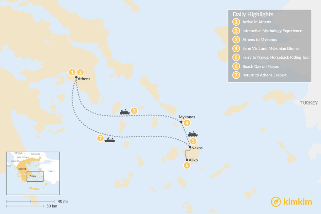 Map of Family Adventures in Athens and the Cyclades - 7 Days