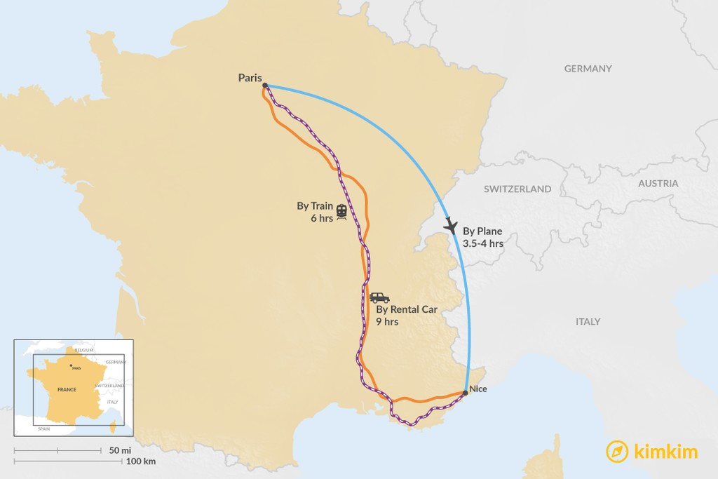 Map of How to Get from Paris to Nice