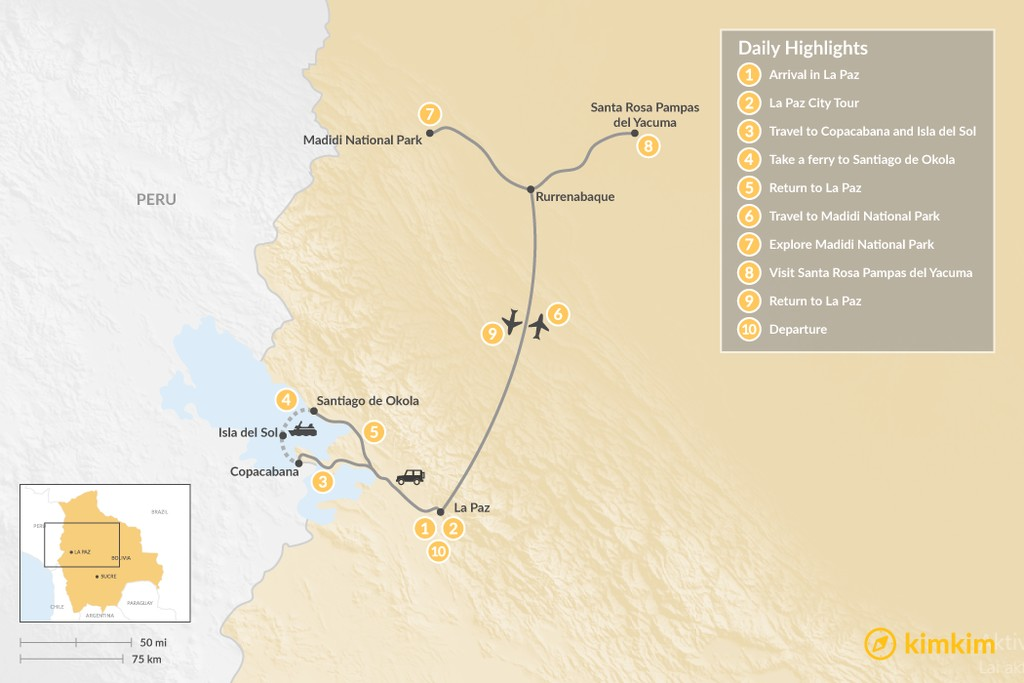 Map of Exploring the Andes and Amazon Rainforest - 10 Days