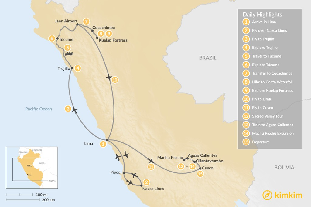 Map of History & Culture of Peru - 15 Days