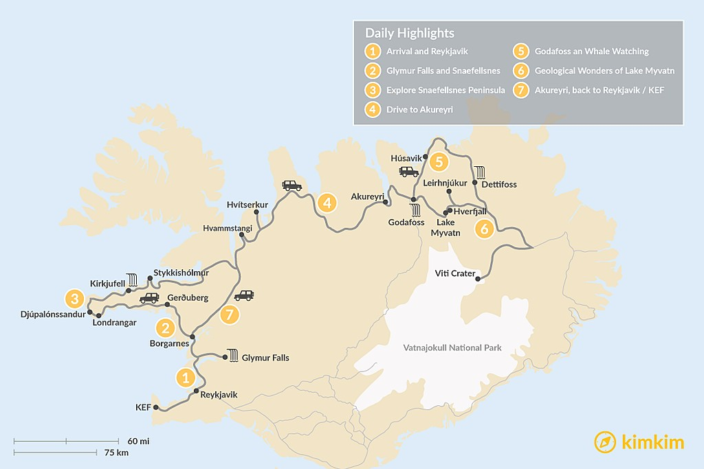 Map of Iceland's Western & Northern Highlights - 7 Days