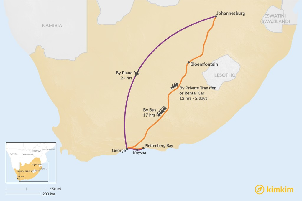 Map of How to Get from Johannesburg to Garden Route
