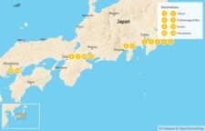 Map thumbnail of Family Adventure in Japan:  Tokyo, Kyoto, Hiroshima, Mount Fuji - 14 Days